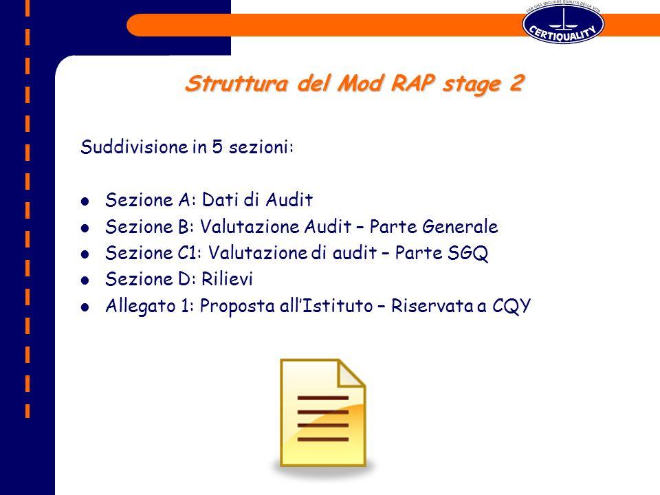 Struttura del Mod RAP stage 2 Suddivisione in 5 sezioni: Sezione A: Dati di Audit Sezione B: Valutazione Audit – Parte Generale Sezione C1: Valutazione di audit – Parte SGQ Sezione D: Rilievi Allegato 1: Proposta allIstituto – Riservata a CQY