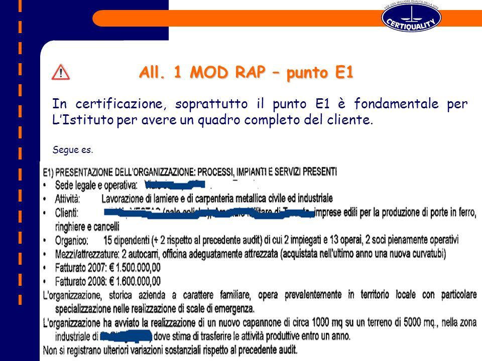 In certificazione, soprattutto il punto E1 è fondamentale per LIstituto per avere un quadro completo del cliente.