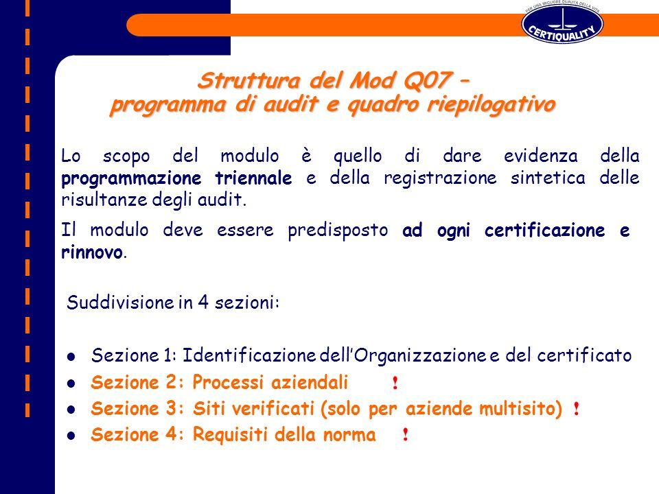Struttura del Mod Q07 – programma di audit e quadro riepilogativo Suddivisione in 4 sezioni: Sezione 1: Identificazione dellOrganizzazione e del certificato Sezione 2: Processi aziendali Sezione 3: Siti verificati (solo per aziende multisito) Sezione 4: Requisiti della norma Lo scopo del modulo è quello di dare evidenza della programmazione triennale e della registrazione sintetica delle risultanze degli audit.