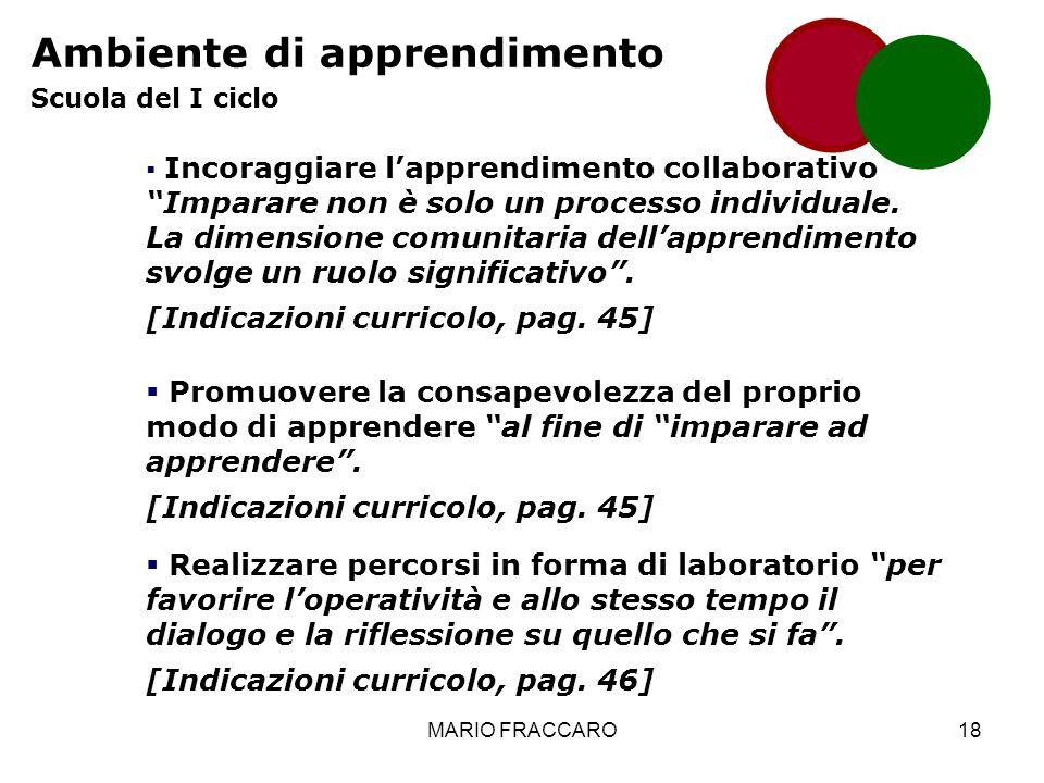 MARIO FRACCARO18 Ambiente di apprendimento Scuola del I ciclo Incoraggiare lapprendimento collaborativo Imparare non è solo un processo individuale.