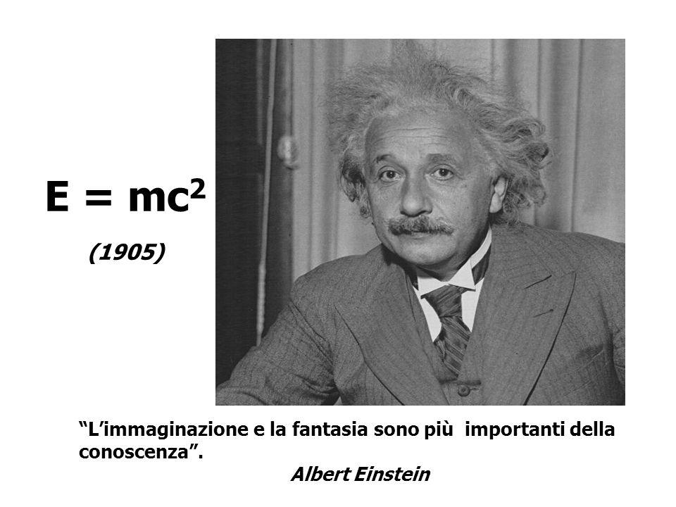 E = mc 2 (1905) Limmaginazione e la fantasia sono più importanti della conoscenza. Albert Einstein