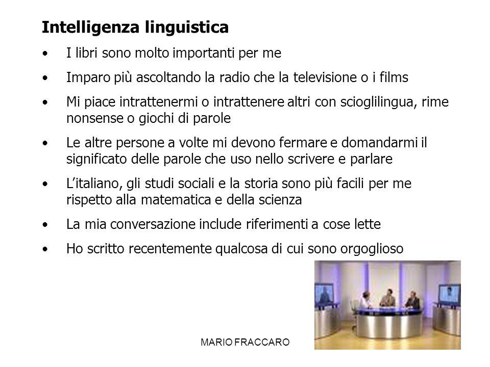 MARIO FRACCARO16 Intelligenza linguistica I libri sono molto importanti per me Imparo più ascoltando la radio che la televisione o i films Mi piace in