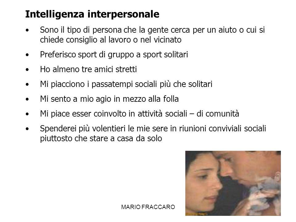MARIO FRACCARO20 Intelligenza interpersonale Sono il tipo di persona che la gente cerca per un aiuto o cui si chiede consiglio al lavoro o nel vicinat