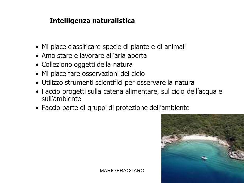 MARIO FRACCARO22 Intelligenza naturalistica Mi piace classificare specie di piante e di animali Amo stare e lavorare allaria aperta Colleziono oggetti
