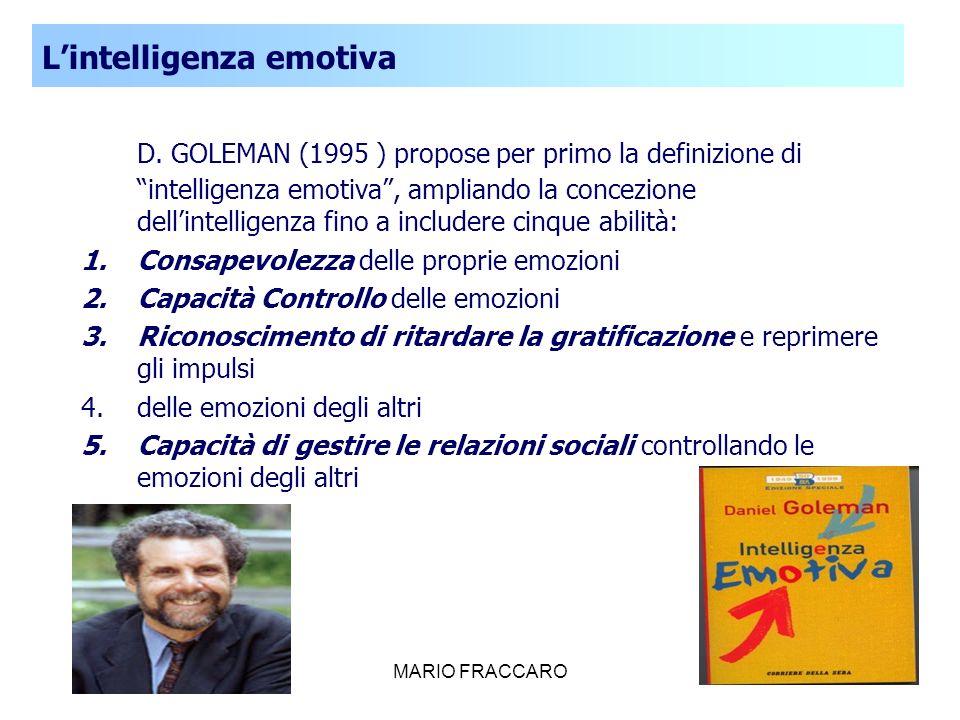 MARIO FRACCARO27 D. GOLEMAN (1995 ) propose per primo la definizione di intelligenza emotiva, ampliando la concezione dellintelligenza fino a includer