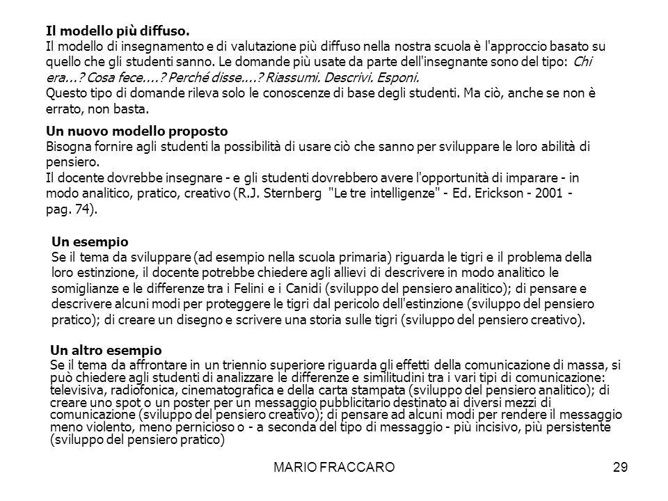 MARIO FRACCARO29 Un altro esempio Se il tema da affrontare in un triennio superiore riguarda gli effetti della comunicazione di massa, si può chiedere