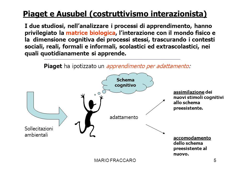 MARIO FRACCARO5 I due studiosi, nellanalizzare i processi di apprendimento, hanno privilegiato la matrice biologica, linterazione con il mondo fisico