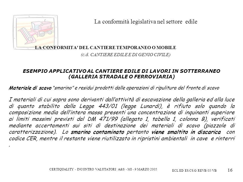 CERTIQUALITY - INCONTRO VALUTATORI A&S - MI - 9 MARZO 2005 ECL ED ES.CS.G REVB 05/VB 16 La conformità legislativa nel settore edile LA CONFORMITA DEL CANTIERE TEMPORANEO O MOBILE (c.d.