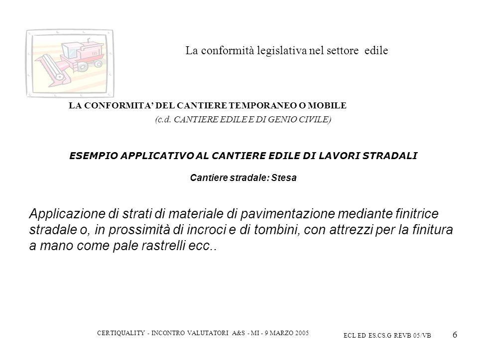 CERTIQUALITY - INCONTRO VALUTATORI A&S - MI - 9 MARZO 2005 ECL ED ES.CS.G REVB 05/VB 6 La conformità legislativa nel settore edile LA CONFORMITA DEL CANTIERE TEMPORANEO O MOBILE (c.d.