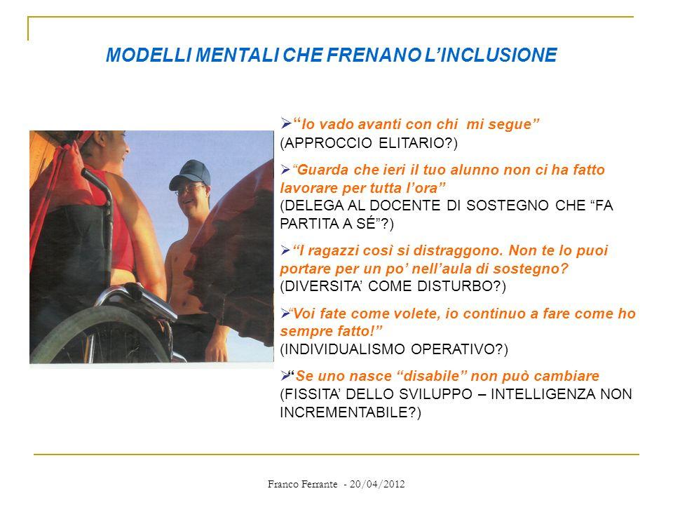Franco Ferrante - 20/04/2012 MODELLI MENTALI CHE FRENANO LINCLUSIONE Io vado avanti con chi mi segue (APPROCCIO ELITARIO?) Guarda che ieri il tuo alun