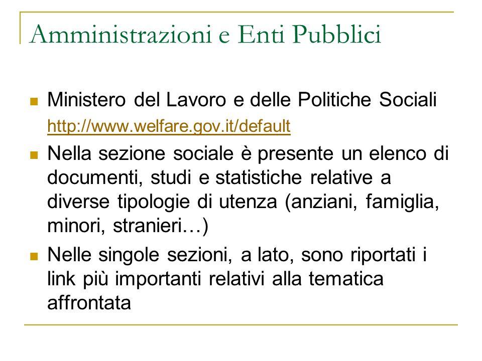 Amministrazioni e Enti Pubblici Ministero del Lavoro e delle Politiche Sociali http://www.welfare.gov.it/default Nella sezione sociale è presente un e
