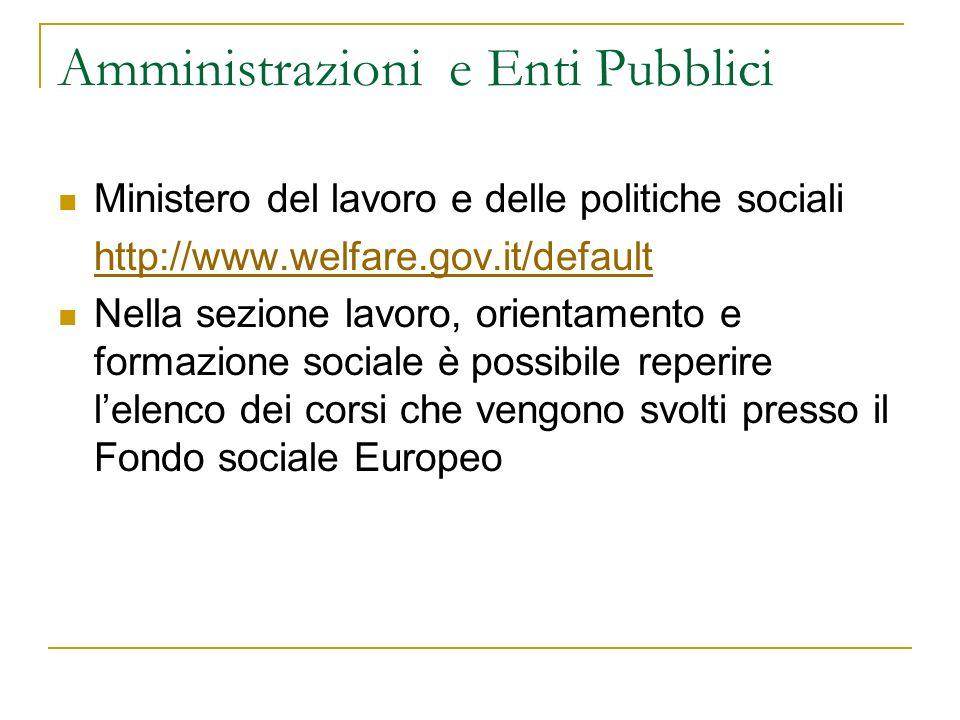 Amministrazioni e Enti Pubblici Ministero del lavoro e delle politiche sociali http://www.welfare.gov.it/default Nella sezione lavoro, orientamento e
