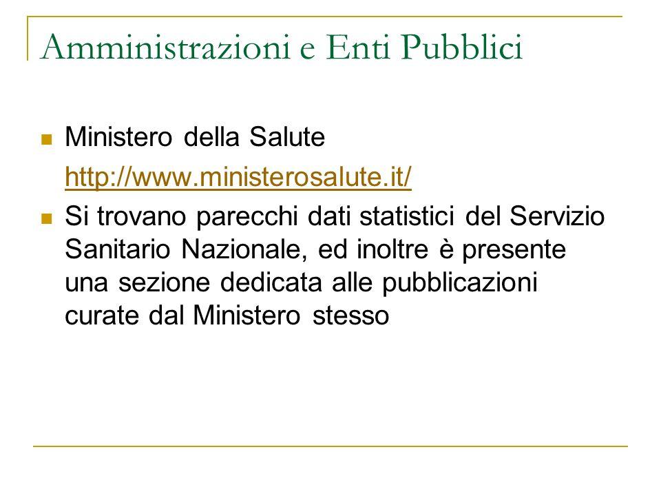 Amministrazioni e Enti Pubblici Ministero della Salute http://www.ministerosalute.it/ Si trovano parecchi dati statistici del Servizio Sanitario Nazio