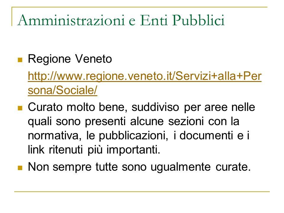Amministrazioni e Enti Pubblici Regione Veneto http://www.regione.veneto.it/Servizi+alla+Per sona/Sociale/ Curato molto bene, suddiviso per aree nelle quali sono presenti alcune sezioni con la normativa, le pubblicazioni, i documenti e i link ritenuti più importanti.