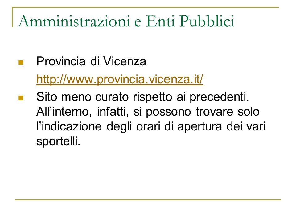 Amministrazioni e Enti Pubblici Provincia di Vicenza http://www.provincia.vicenza.it/ Sito meno curato rispetto ai precedenti. Allinterno, infatti, si