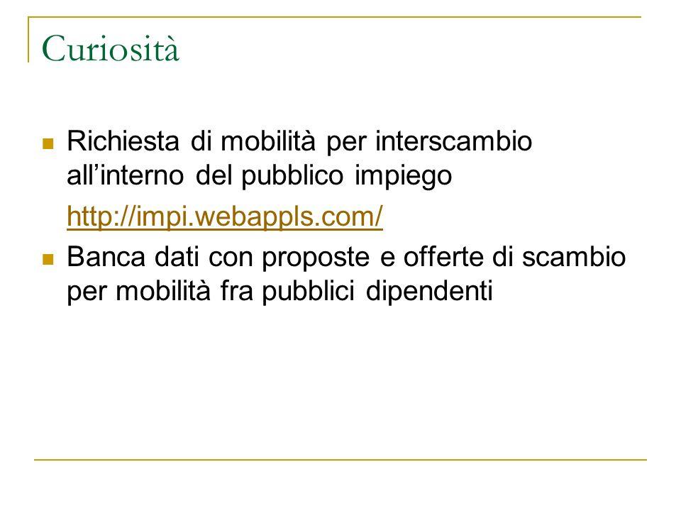 Curiosità Richiesta di mobilità per interscambio allinterno del pubblico impiego http://impi.webappls.com/ Banca dati con proposte e offerte di scambio per mobilità fra pubblici dipendenti