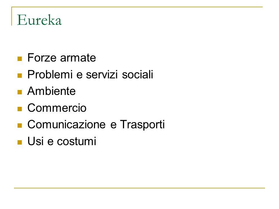 Eureka Forze armate Problemi e servizi sociali Ambiente Commercio Comunicazione e Trasporti Usi e costumi