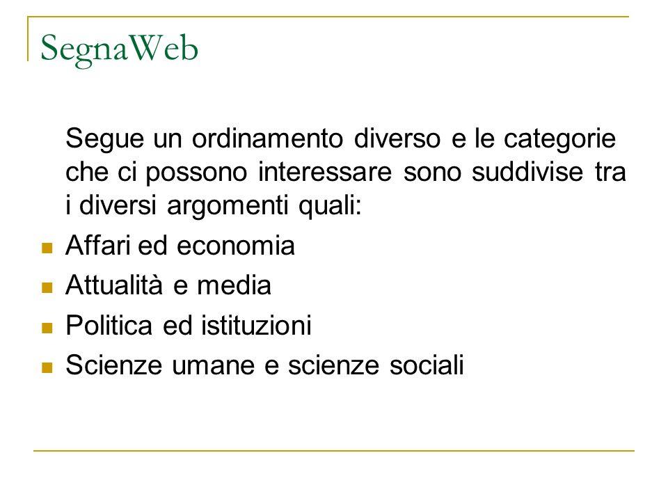 SegnaWeb Segue un ordinamento diverso e le categorie che ci possono interessare sono suddivise tra i diversi argomenti quali: Affari ed economia Attualità e media Politica ed istituzioni Scienze umane e scienze sociali