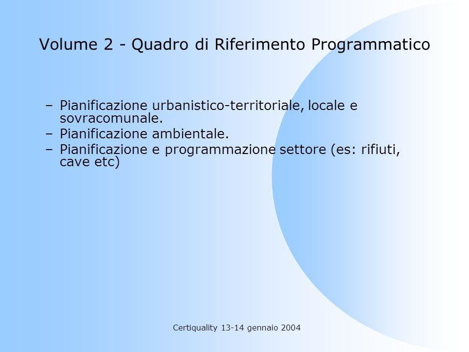 Certiquality 13-14 gennaio 2004 Volume 2 - Quadro di Riferimento Programmatico –Pianificazione urbanistico-territoriale, locale e sovracomunale. –Pian