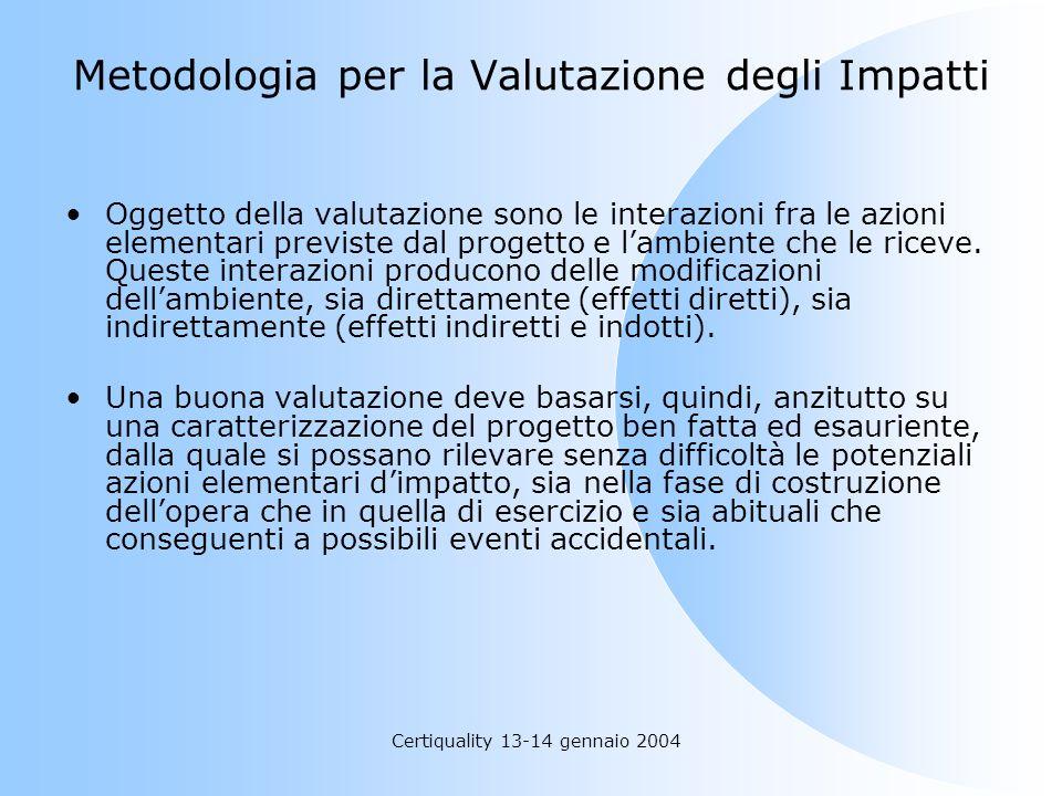 Certiquality 13-14 gennaio 2004 Metodologia per la Valutazione degli Impatti Oggetto della valutazione sono le interazioni fra le azioni elementari pr
