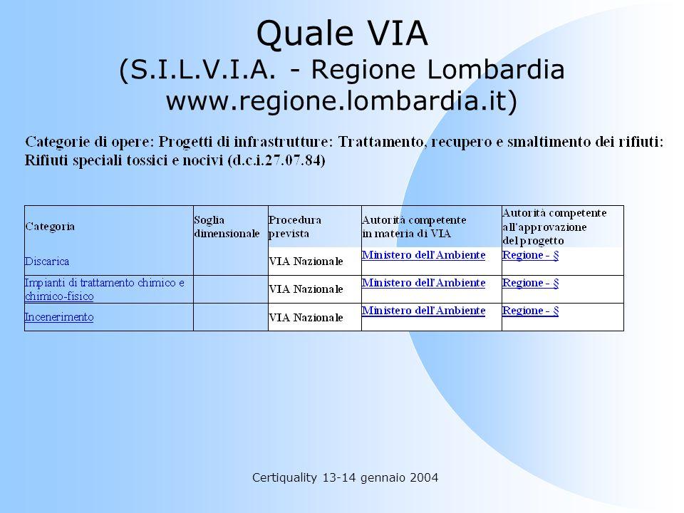 Certiquality 13-14 gennaio 2004 Quale VIA (S.I.L.V.I.A. - Regione Lombardia www.regione.lombardia.it)