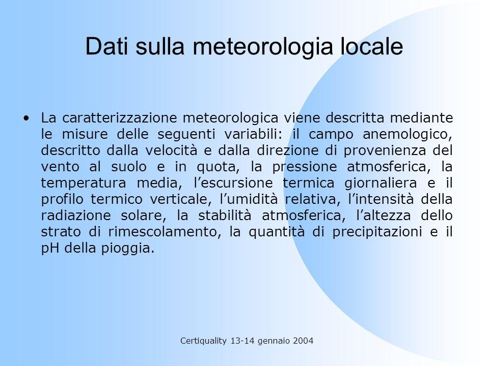 Certiquality 13-14 gennaio 2004 Dati sulla meteorologia locale La caratterizzazione meteorologica viene descritta mediante le misure delle seguenti va