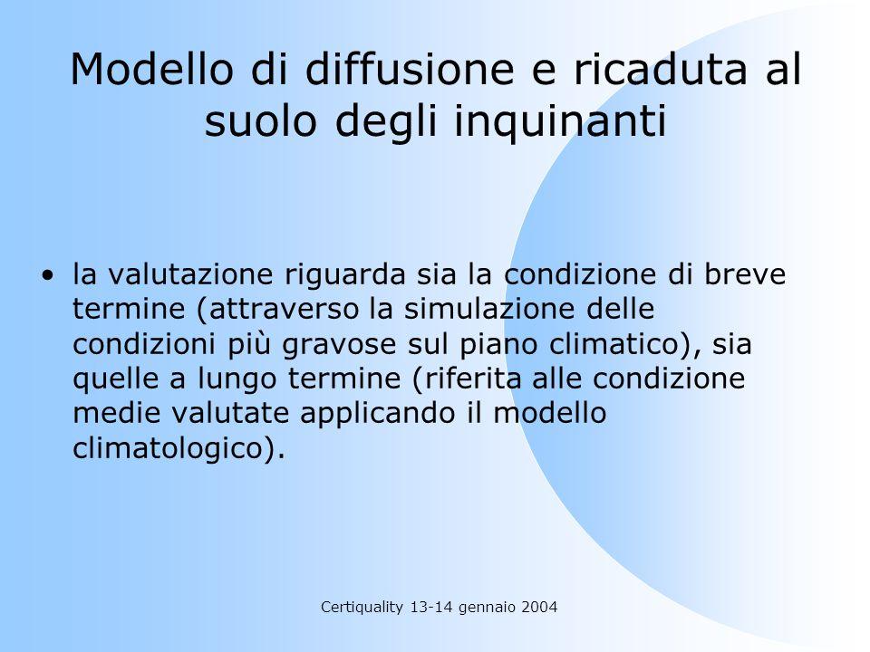 Certiquality 13-14 gennaio 2004 la valutazione riguarda sia la condizione di breve termine (attraverso la simulazione delle condizioni più gravose sul