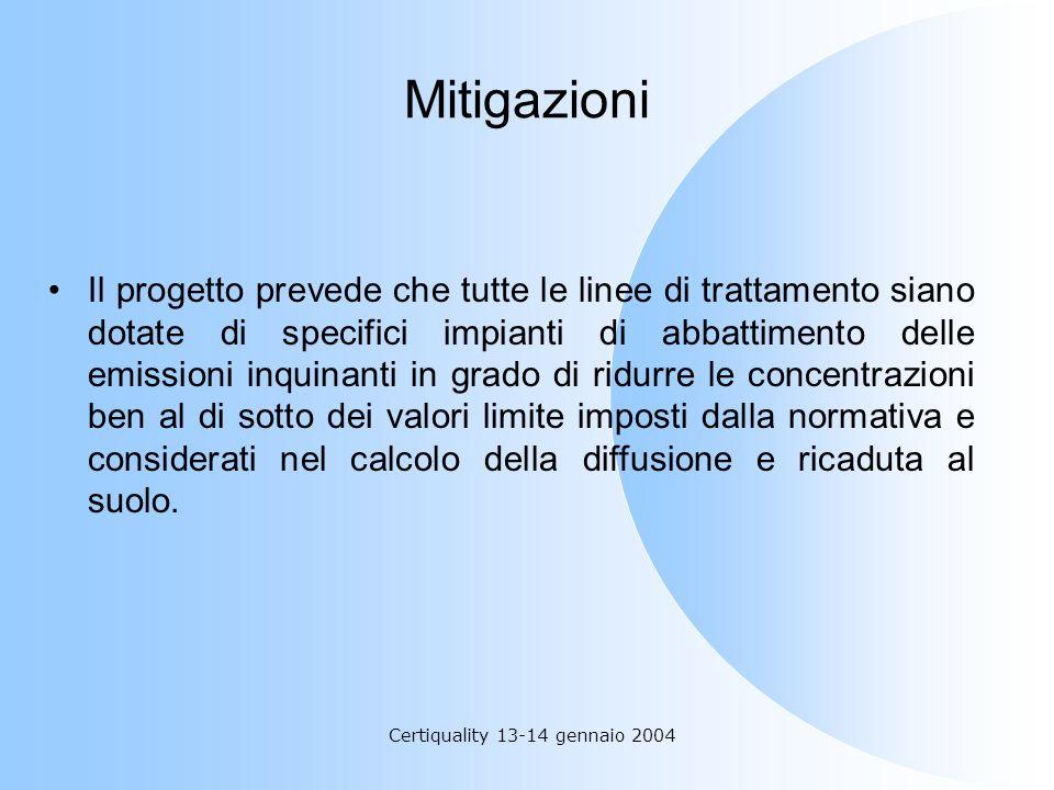 Certiquality 13-14 gennaio 2004 Mitigazioni Il progetto prevede che tutte le linee di trattamento siano dotate di specifici impianti di abbattimento d