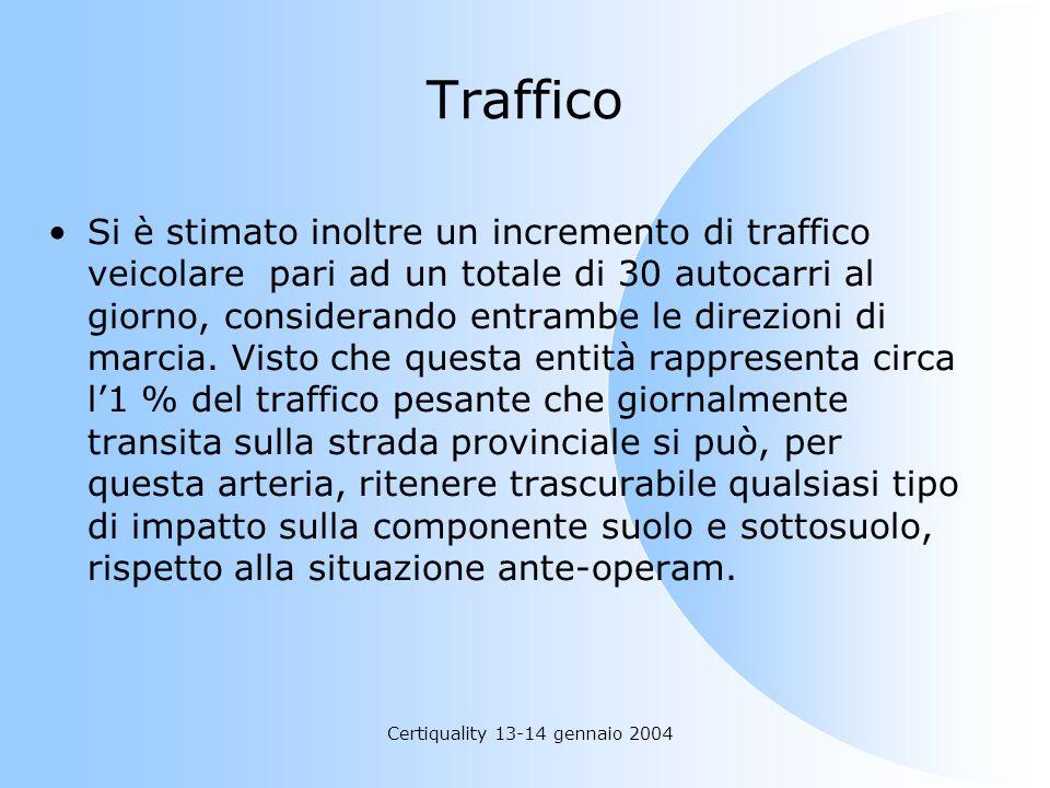 Certiquality 13-14 gennaio 2004 Traffico Si è stimato inoltre un incremento di traffico veicolare pari ad un totale di 30 autocarri al giorno, conside