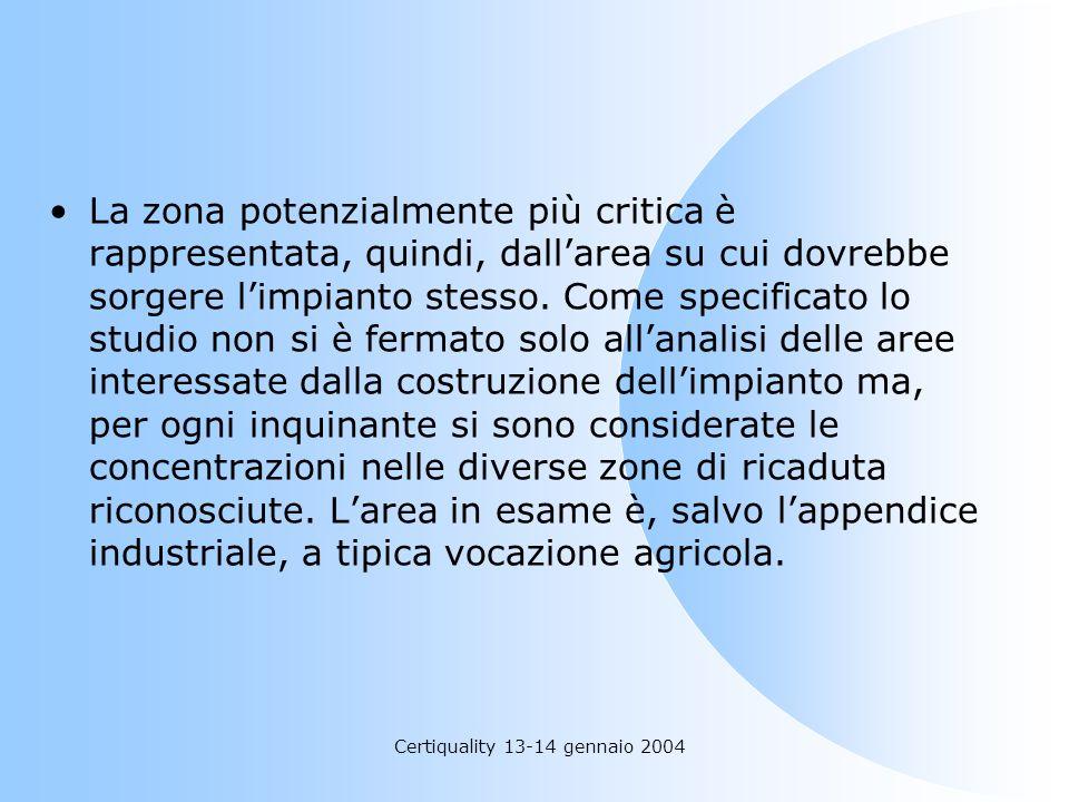 Certiquality 13-14 gennaio 2004 La zona potenzialmente più critica è rappresentata, quindi, dallarea su cui dovrebbe sorgere limpianto stesso. Come sp