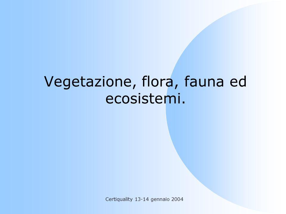 Vegetazione, flora, fauna ed ecosistemi.