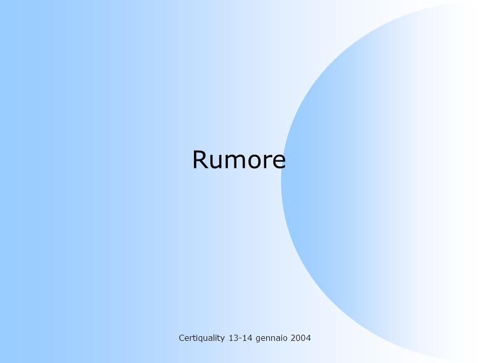 Certiquality 13-14 gennaio 2004 Rumore