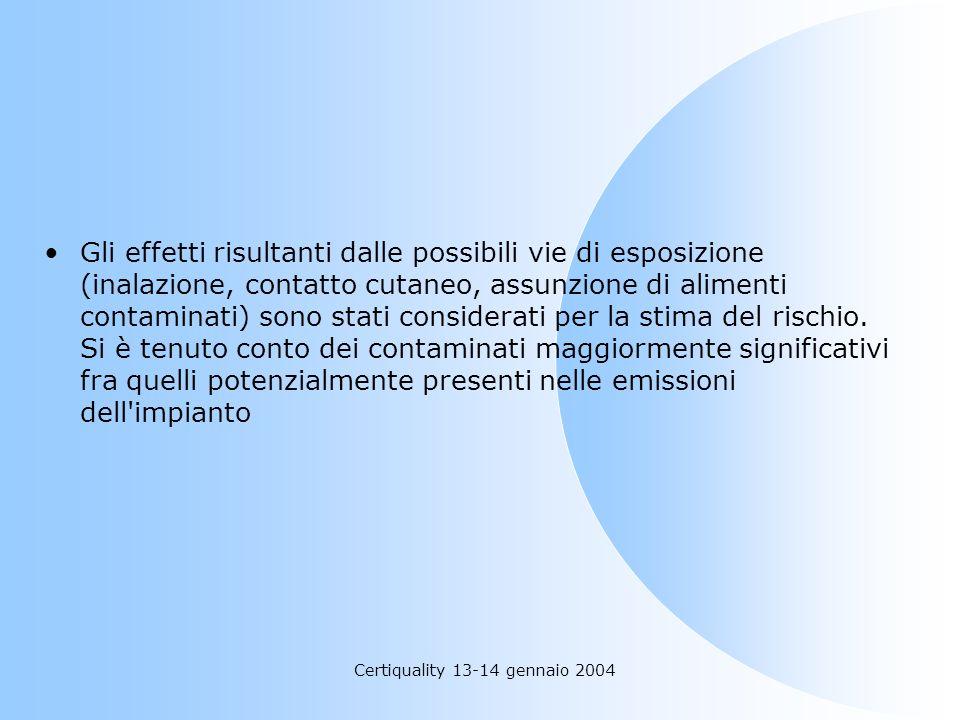 Certiquality 13-14 gennaio 2004 Gli effetti risultanti dalle possibili vie di esposizione (inalazione, contatto cutaneo, assunzione di alimenti contam
