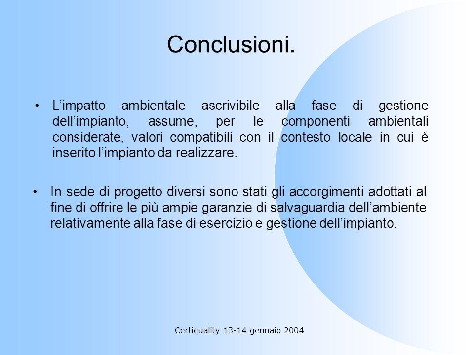 Certiquality 13-14 gennaio 2004 Conclusioni. Limpatto ambientale ascrivibile alla fase di gestione dellimpianto, assume, per le componenti ambientali