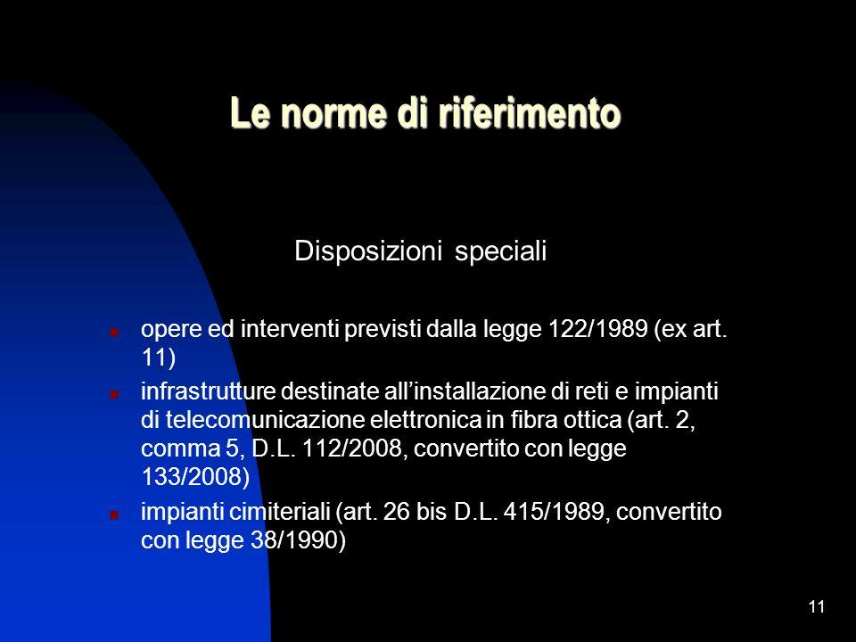 11 Le norme di riferimento Disposizioni speciali opere ed interventi previsti dalla legge 122/1989 (ex art. 11) infrastrutture destinate allinstallazi