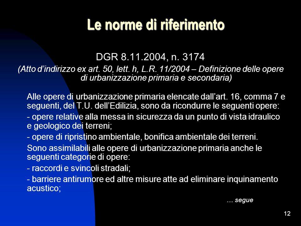 12 Le norme di riferimento DGR 8.11.2004, n. 3174 (Atto dindirizzo ex art. 50, lett. h, L.R. 11/2004 – Definizione delle opere di urbanizzazione prima