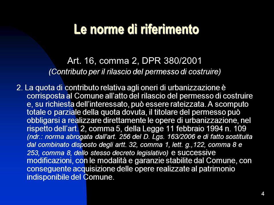 4 Le norme di riferimento Art. 16, comma 2, DPR 380/2001 (Contributo per il rilascio del permesso di costruire) 2. La quota di contributo relativa agl