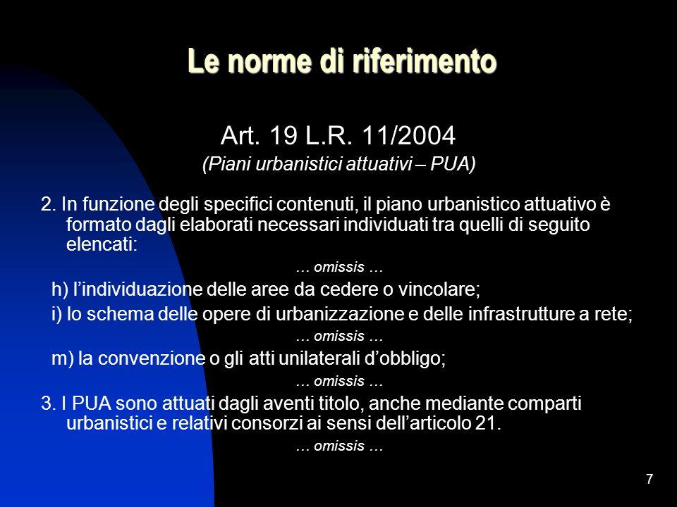 7 Le norme di riferimento Art. 19 L.R. 11/2004 (Piani urbanistici attuativi – PUA) 2. In funzione degli specifici contenuti, il piano urbanistico attu