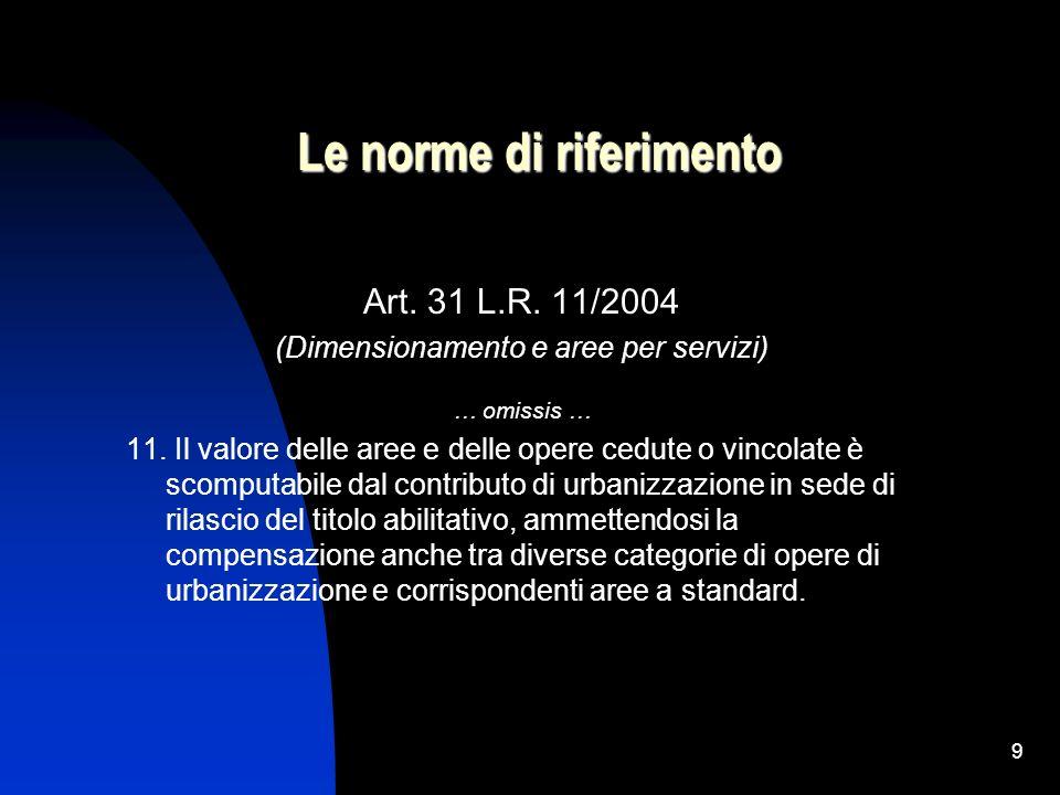 9 Le norme di riferimento Art. 31 L.R. 11/2004 (Dimensionamento e aree per servizi) … omissis … 11. Il valore delle aree e delle opere cedute o vincol