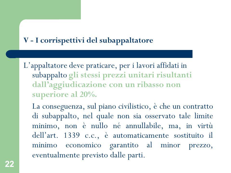 22 V - I corrispettivi del subappaltatore Lappaltatore deve praticare, per i lavori affidati in subappalto gli stessi prezzi unitari risultanti dallag