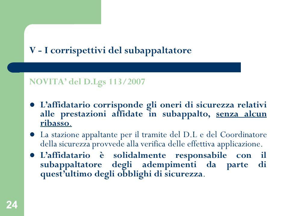 24 V - I corrispettivi del subappaltatore NOVITA del D.Lgs 113/2007 Laffidatario corrisponde gli oneri di sicurezza relativi alle prestazioni affidate