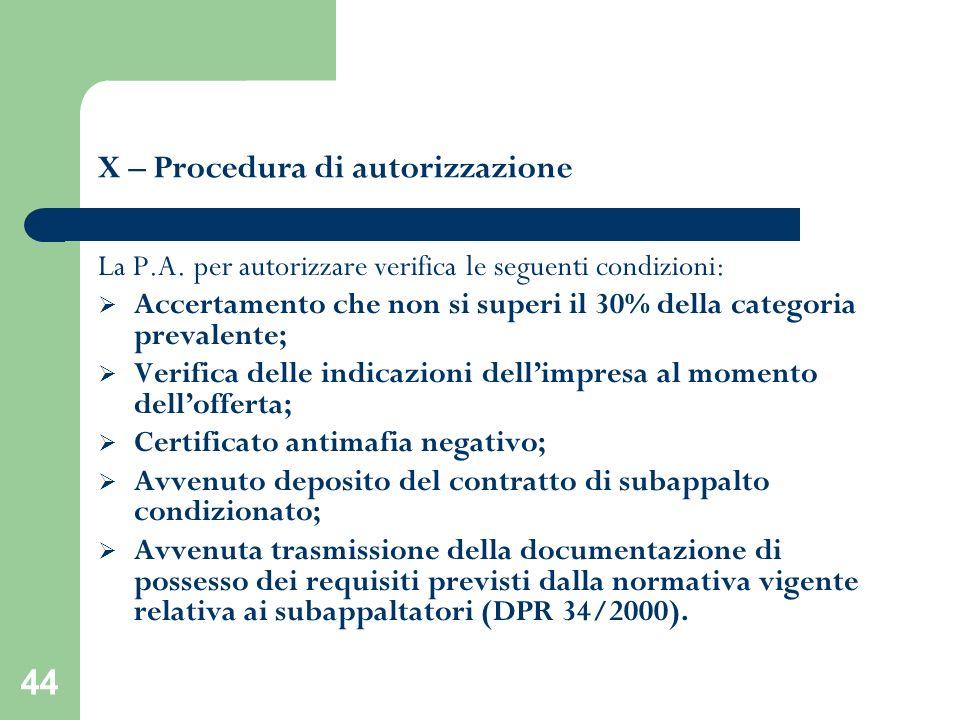 44 X – Procedura di autorizzazione La P.A. per autorizzare verifica le seguenti condizioni: Accertamento che non si superi il 30% della categoria prev
