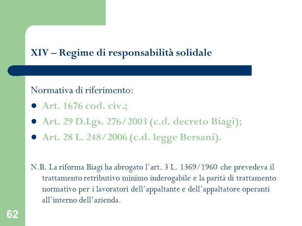 62 XIV – Regime di responsabilità solidale Normativa di riferimento: Art. 1676 cod. civ.; Art. 29 D.Lgs. 276/2003 (c.d. decreto Biagi); Art. 28 L. 248