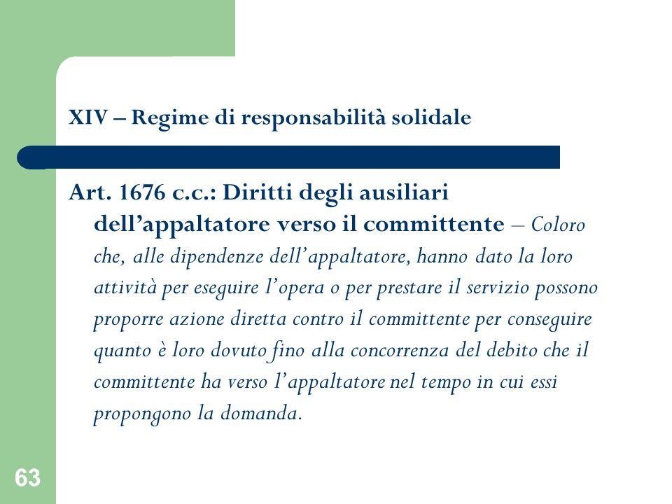 63 XIV – Regime di responsabilità solidale Art. 1676 c.c.: Diritti degli ausiliari dellappaltatore verso il committente – Coloro che, alle dipendenze