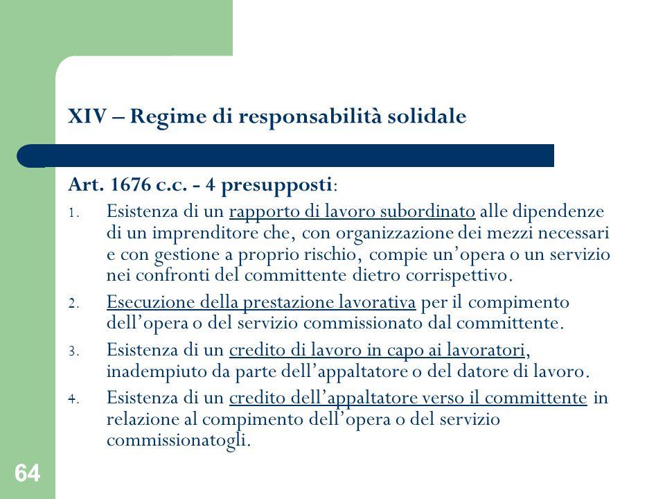 64 XIV – Regime di responsabilità solidale Art. 1676 c.c. - 4 presupposti: 1. Esistenza di un rapporto di lavoro subordinato alle dipendenze di un imp