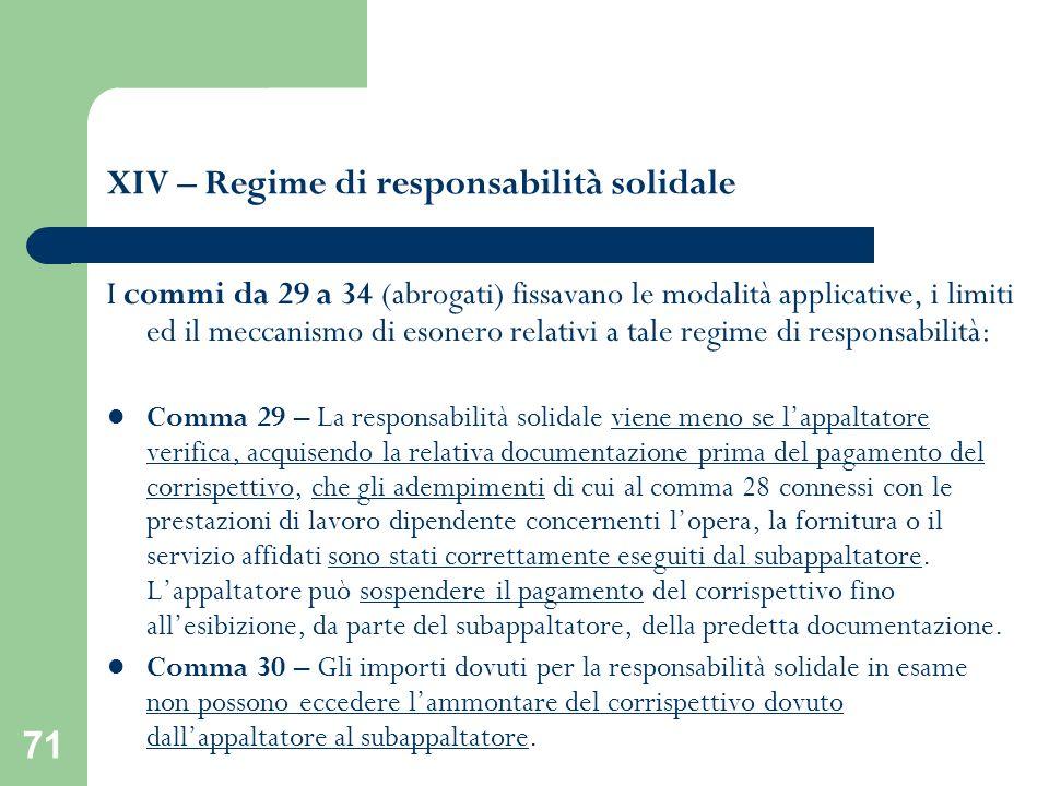 71 XIV – Regime di responsabilità solidale I commi da 29 a 34 (abrogati) fissavano le modalità applicative, i limiti ed il meccanismo di esonero relat
