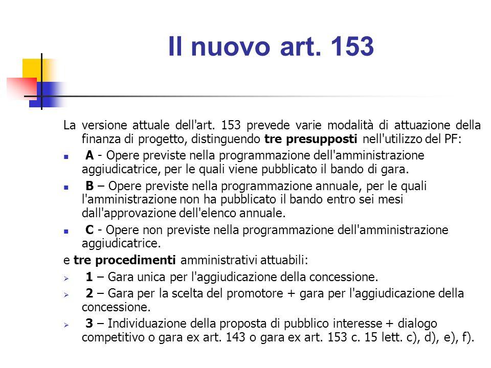 A: Opere inserite nella programmazione Art.153 c.
