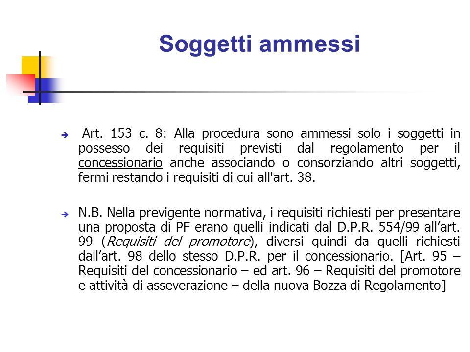C: opere non inserite nella programmazione Art.153 c.