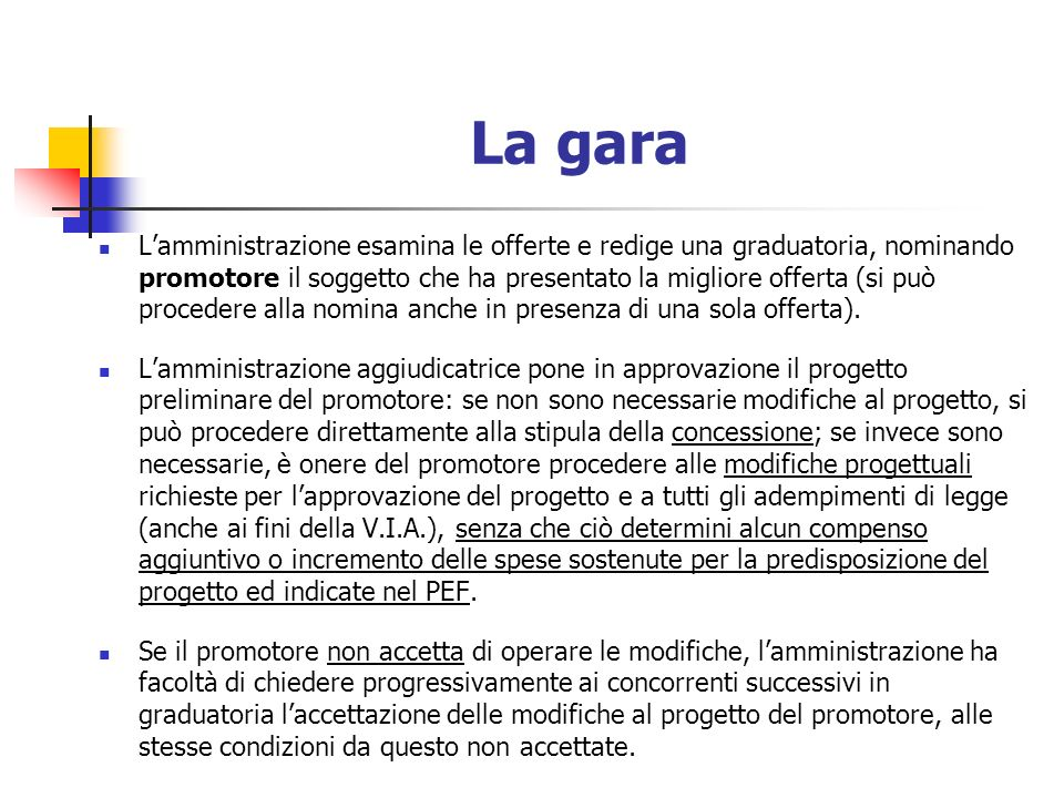 Modificabilità del soggetto proponente Nel caso di opere non presenti nella programmazione (c.