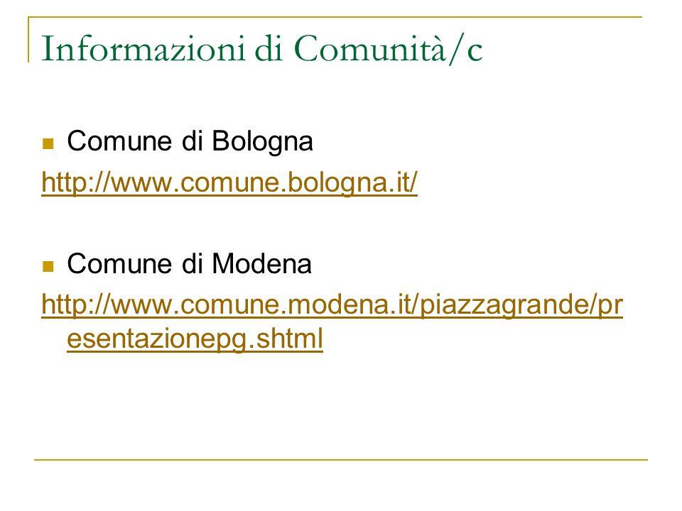 Informazioni di Comunità/c Comune di Bologna http://www.comune.bologna.it/ Comune di Modena http://www.comune.modena.it/piazzagrande/pr esentazionepg.
